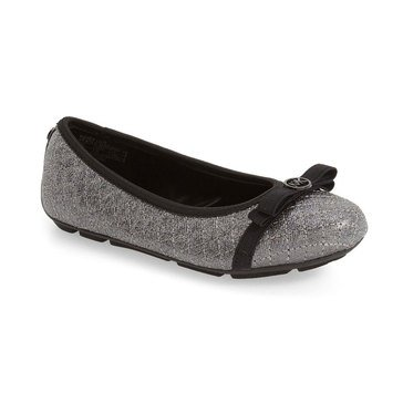 Michael Kors Rover Lilo Girl's Dress Slip On Shoe-Pewter Saffiano