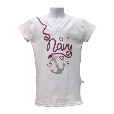 Third Street Sportswear Youth Girls' USN Anchor Rope V-Neck Tee
