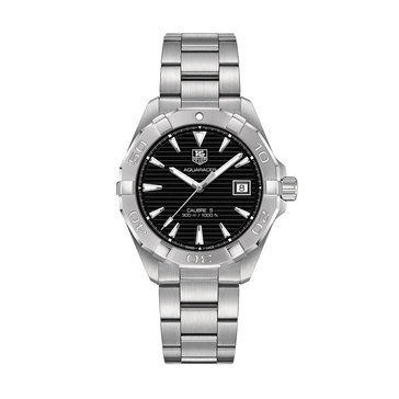 Tag Heuer Men's Aquaracer Calibre 5 Automatic Watch WAY2110.BA0928, Black/ Fine Brushed Steel 40.5mm