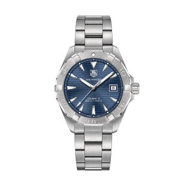 Tag Heuer Men's Aquaracer Calibre 5 Automatic Watch WAY2112.BA0928, Blue/ Fine Brushed Steel 40.5mm