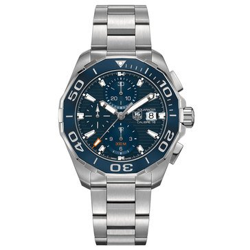 Tag Heuer Men's Aquaracer Calibre 16 Automatic Chronograph Watch CAY211B.BA0927, Blue Ceramic/ Fine Brushed Steel 43mm
