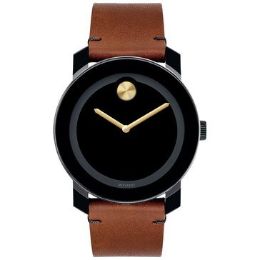 Movado Unisex Bold Black Composite Case with Brown Leather Strap Watch, 42mm