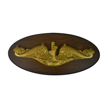 LS Enterprises USN Submarine Warfare Officer Dolphin Gold Plaque Oval With Medallion