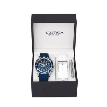 Nautica Men's Chronograph Watch And Interchangeable Silicone Strap Boxed Set 43mm
