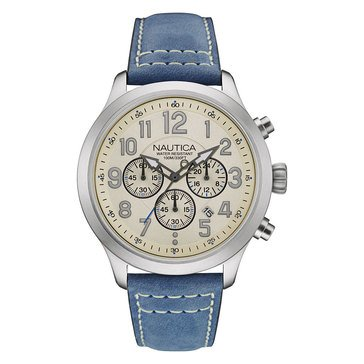 Nautica Men's Chronograph Leather Strap Watch 45mm
