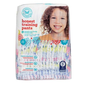 The Honest Company Training Pants, Chambray Floral - Size 4T/5T, 19-Count