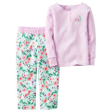 Carter's Little Girls' 2-Piece Flower Stripe Cotton Pajamas
