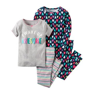 Carter's Little Girls' 4-Piece Cotton Awesome Pajama Set