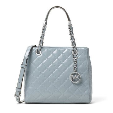 MICHAEL Michael Kors Susannah Small North South Tote Quilted Patent Dusty Blue