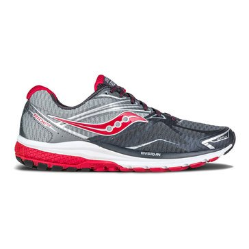 Saucony Ride 9 Men's Running Shoe Grey/ Charcoal/ Red
