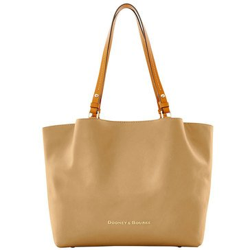 Dooney & Bourke City Leather Flynn Tote Mushroom With Natural Trim