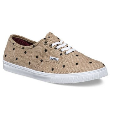 Vans Authentic Lo Pro Women's Skate Shoe Tan / TrueWhiteTweedDots