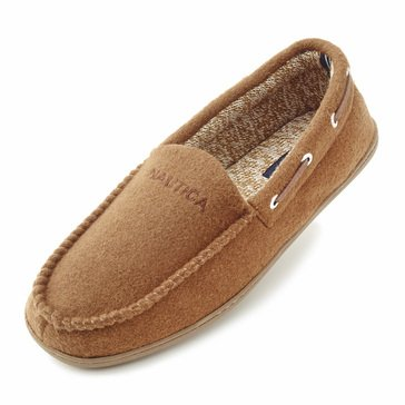 Nautica Deckhand Men's Moccasin Slipper Oyster Brown