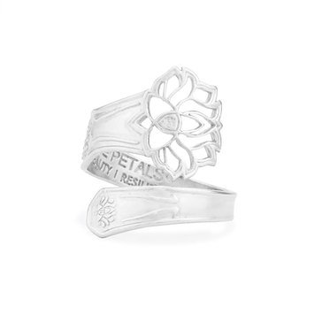 Alex and Ani 'Lotus Peace Petals' Spoon Ring Silver Tone