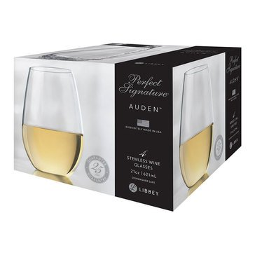 Libbey Auden Stemless White Wine Glasses, Set of 4
