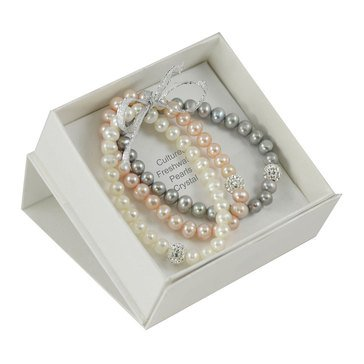 Fresh Water Pearl & Crystal 3-Piece Bracelet Set