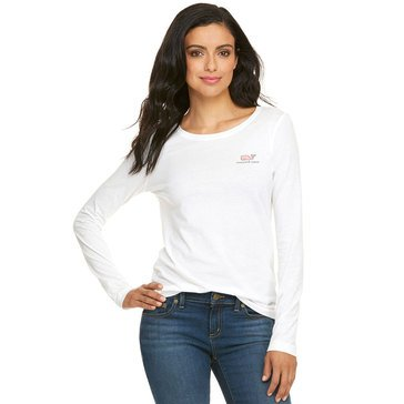 Vineyard Vines Long Sleeve Logo Tee in White
