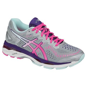 Asics Gel-Kayano 23 Women's Running Shoe Silver / Pink Glow / Parachute Purple