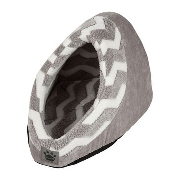 SnooZZy Hide and Seek Plush Gray Zig Zag Pet Bed