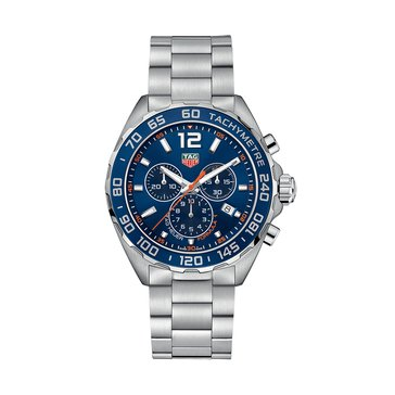 Tag Heuer Men's Formula 1 Blue Sunray/Fine Brushed Stainless Steel Chronograph Watch, 43mm
