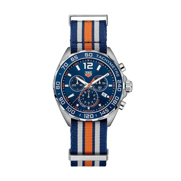 Tag Heuer Men's Formula 1 Blue Sunray/Blue & Orange NATO Strap Chronograph Watch, 43mm