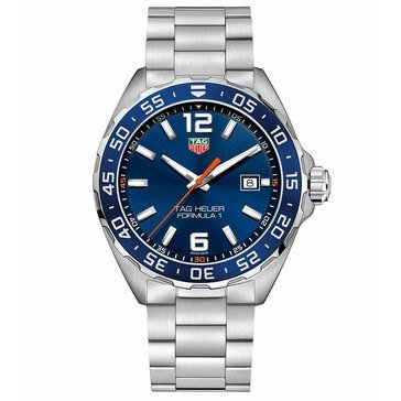 Tag Heuer Men's Formula 1 Watch WAZ1010.BA0842, Blue Sunray/ Fine Brushed Stainless Steel 43mm