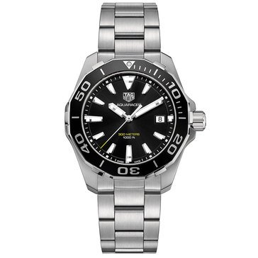 Tag Heuer Men's Aquaracer Black/Fine Brushed and Polished Steel Watch, 41mm