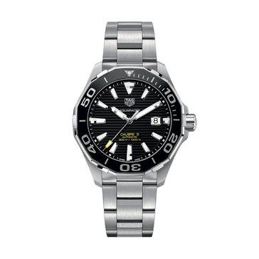 Tag Heuer Men's Aquaracer Calibre 5 Automatic Black Ceramic/Fine Brushed Steel Watch, 43mm