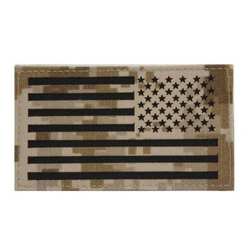 NWU Type-II FABRIC Tan Small Shoulder Patch Reverse Field American Flag on Velcro (Do Not Launder)