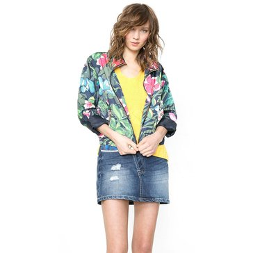 Desigual Floral Long Sleeve Jacket in Blue Multi