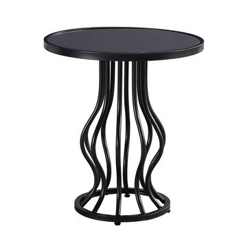 Marxim Round End Table - Gunmetal Finish