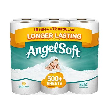 Angel Soft Bath Tissue, 18 Mega Rolls, 528 Sheets