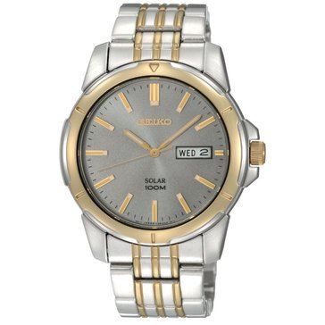 Seiko Men's Silver Grey Dial with Two-Tone Bracelet Watch, 39mm