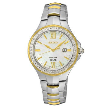 Seiko Women's Coutura Silver Mop Dial with Two-Tone Bracelet Watch, 29mm