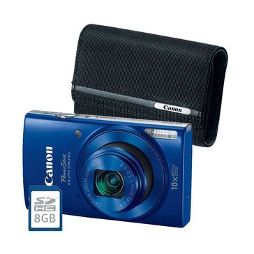 Canon PowerShot ELPH190 20MP Digital Camera Military Bundle - Blue