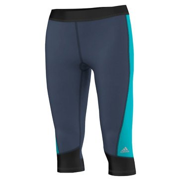Adidas Women's Techfit Capri Leggings in Minera Blue/Shock