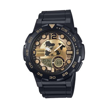 Casio Men's 3D Dial Watch AEQ100BW-9AV, Black/ Gold 52mm