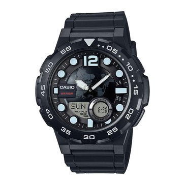 Casio Men's 3D Dial Watch AEQ100W-1AV, Black 52mm