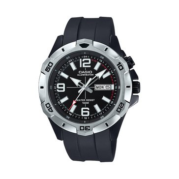 Casio Men's Diver Style Analog Silver/Black Watch, 50mm