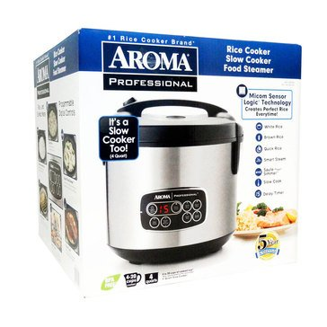 Aroma Professional Digital Rice Cooker, Food Steamer & Slow Cooker, 20-Cup (ARC-3000SB)