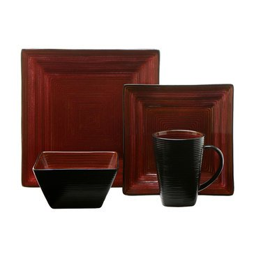 Oneida Adriatic Red Square 16-Piece Dinnerware Set