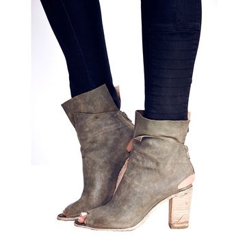 Free People Golden Road Women's Peep Toe Boot Khaki