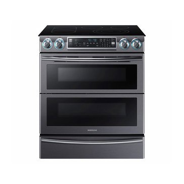 Samsung 5.8-Cu.Ft. Slide-In Electric Flex Duo Range, Black Stainless Steel (NE58K9850WG)