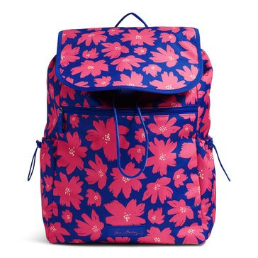 Vera Bradley Lighten Up Large Drawstring Backpack Art Poppies