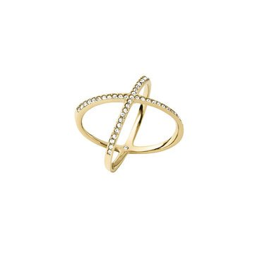 Michael Kors Gold Tone Pave, Size 7 Criss Cross Ring
