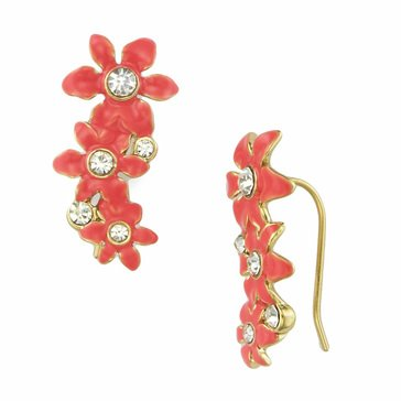 Kate Spade Gold Tone 'Lovely Lillies' Coral Ear Pins