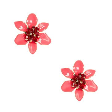 Kate Spade Gold Tone 'Lovely Lillies' Coral Statement Studs