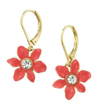 Kate Spade Gold Tone 'Lovely Lillies' Coral Mini Flower Leverback Earrings