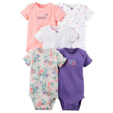 Carter's Baby Girls' 5-Pack Butterfly Bodysuits