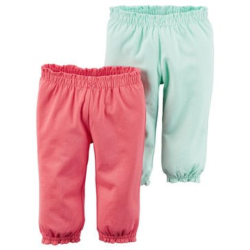 Carter's Baby Girls' 2-Pack Coral Mint Pants